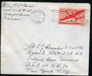 US INDEPENDENCE, KS 7/23/1946 AIR COVER TO ICELAND BASE COMMAND APO 610 AS SHOWN