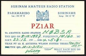 QSL QSO RADIO CARD PZ1AR,Surinam Amateur Radio Station,Willy Rach, (Q2606)