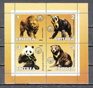 Eritrea, 2001 Cinderella issue. Various Bears sheet of 4. *