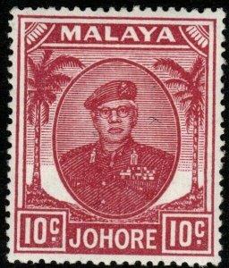 MALAYA JOHORE SG139 1949 10c MAGENTA MNH