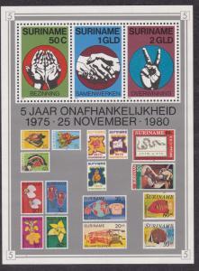 Surinam # 562, Open Hands, Stamp on Stamp, Souvenir Sheet, NH, 1/2 Cat
