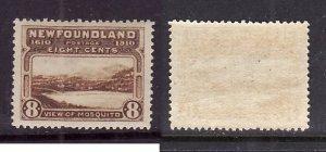 Newfoundland-Sc#99-unused NH og 8c bistre brown Mosquito-perf 14-1911-Nwf387-S/H