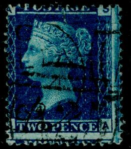 SG45, 2d blue PLATE 12, USED. Cat £140. SA