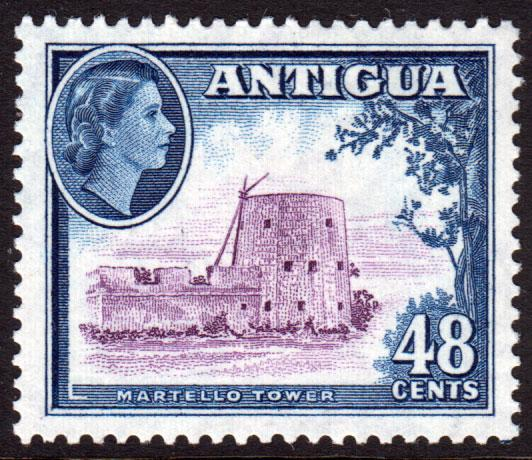 Antigua QEII 1953 48c Purple Deep Blue SG130 Mint Lightly Hinged