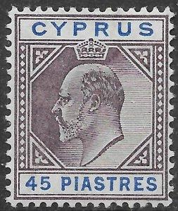 CYPRUS SG71 1904 45pi DULL PURPLE & ULTRAMARINE MTD MINT