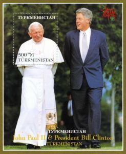 Turkmenistan 1997 POPE JOHN PAUL II & BILL CLINTON s/s Perforated Mint (NH)