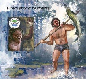 SIERRA LEONE - 2019 - Prehistoric Humans - Perf Souv Sheet - MNH