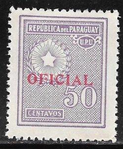 Paraguay O95: 50c National Emblem, MH, F-VF