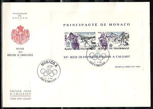 Monaco, Scott cat. 1620. Calgary Olympics sheet. Large First day cover.