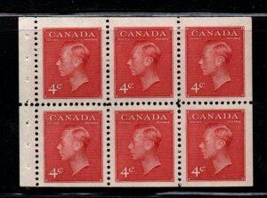 Canada Sc 287b, USC 287bi 1950 4c G VI stitched booklet pane mint NH