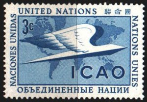 UN New York. 1955. 35 from the series. ICAO world map. MLH.