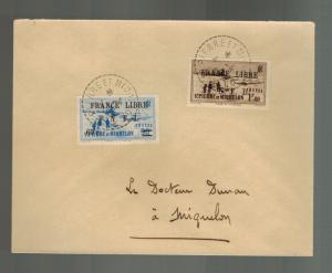 1942 St Pierre Miquelon Cover Local # 241 251