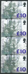 Great Britain QE II Braile issue £10  Block Fine Block of 4