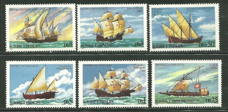 St. Thomas & Prince Islands MNH 534-9 History Of Navigation Ships