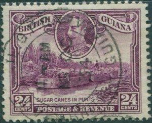 British Guiana 1934 SG294 24c purple KGV Sugar Canes in Punts FU