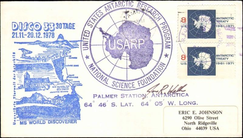 1978 AIR FORCE APO CACHET WORLD DISCOVERER DISCO + ANTARCTIC PROGRAM + SIGNED