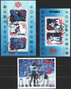 North Korea. 1984. bl174-76. Sarajevo Winter Olympics. USED.