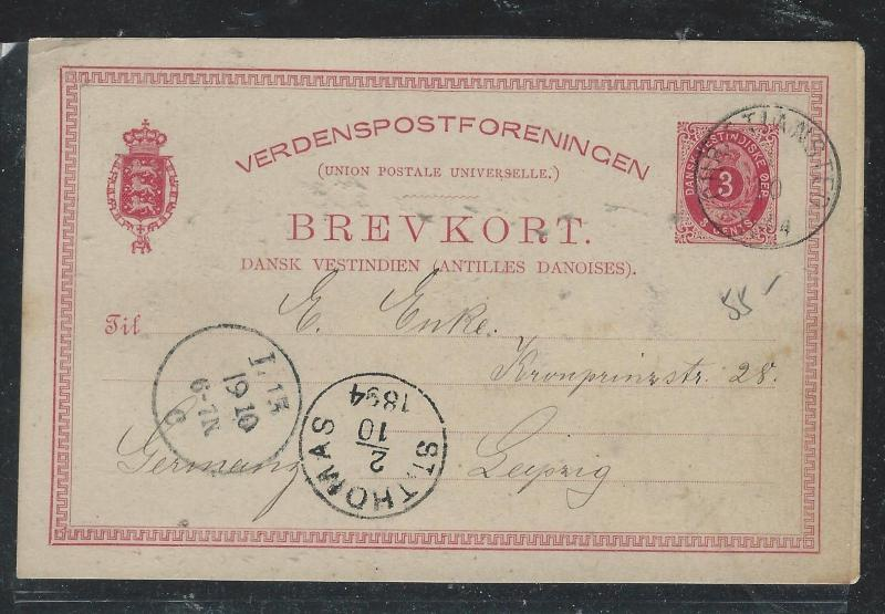 DANISH WEST INDIES (P1906B) 1894 PSC KRISTIANSTED TO GERMANY WITH MSG