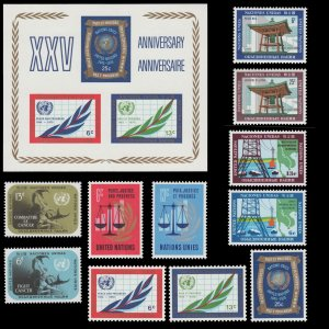 UNITED NATIONS 1970 STAMP YEAR SET. UNUSED.