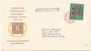 Germany Scott # B309 Stamp Centenary Semi-Postal First Day Cover Sept. 30 1949