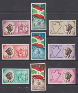Burundi Sc 25-33 MNH. 1962 Independence, cplt set, IMPERF, VF
