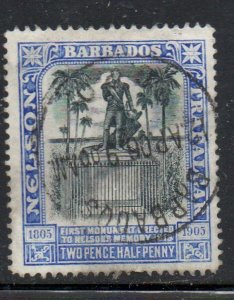 Barbados Sc 106 1906 2 1/2d  Nelson Statue stamp used