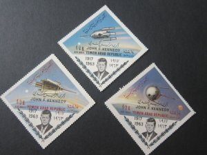 Yemen 1964 Sc C29J,C29M,C29O John F Kennedy set MNH