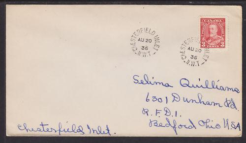Canada Sc 219 on 1936 Chesterfield Inlet Nascopie Cover