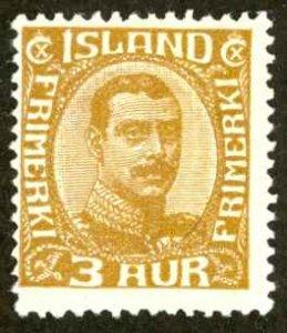 Iceland Sc# 177 MH (a) 1931-1932 3a Christian X