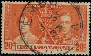 K.U.T. / Kenya - 1937 -  EMBU  KDC Date Stamp on SG129 20c Orange Coronation