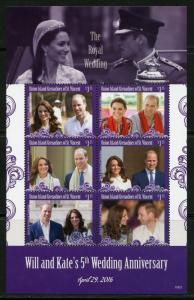 UNION ISLAND 2016  WILL & KATE'S 5th WEDDING ANNIVERSARY SHEET  MINT NH