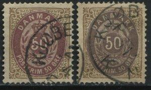 Denmark 1875 50 ore brown & violet and brown & blue violet used