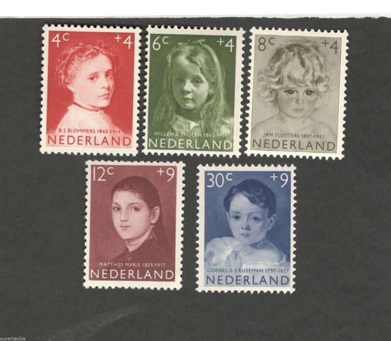1957 Netherlands SCOTT #B316-320  CHILD PORTRAITS MH stamps