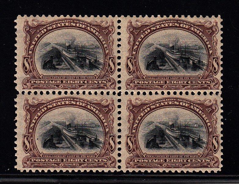 298 F-VF/OG  block of 4. 3 stamps NH!