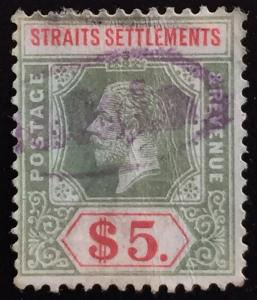 Malaya  Straits Settlements 1918 KGV $5 Used MCCA SG#212b CV£110 M1748