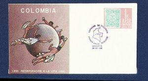 COLOMBIA   # C715  on cacheted unaddressed FDC - UPU - 1981
