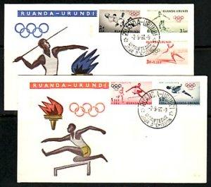 Ruanda-Urundi, Scott cat. B26-B30. Summer Olympics issue. 2 First day covers.