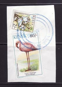 Kenya 608 On Piece U Birds, Lesser Flamingo