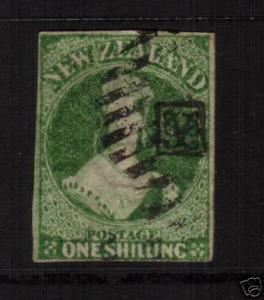 NEW ZEALAND FFQ 1/- GREEN SG100 IMPERF NZ WMK 3 MARGINS CHALON