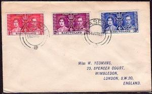 BASUTOLAND 1937 Coronation set on cover to UK ex Maseru....................35741
