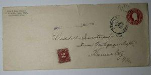 US Sc#J62 Postage Due Precancel Kansas City MO 1926 Used On Cover Danville AK
