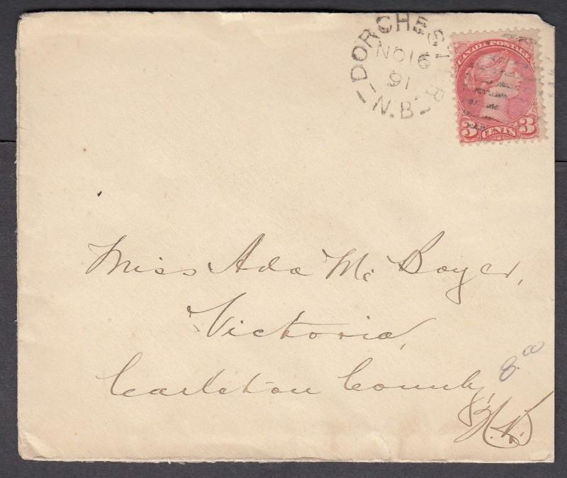 NEW BRUNSWICK SPLIT RING TOWN CANCEL COVER DORCHESTER