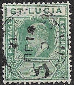 ST LUCIA 1907-10 KEDVII 1/2d Green Scott No. 57 VFU