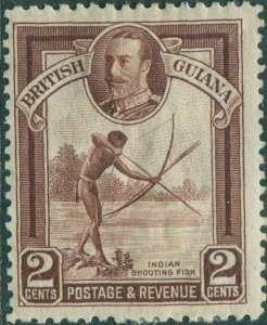 British Guiana 1934 SG289 2c brown KGV Indian Shooting Fish MLH