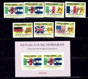 Honduras C429-35a MNH 1968 Olympics Imperf set    (ap2082)