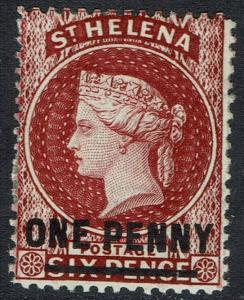 ST HELENA 1864 QV ONE PENNY ON 6D WMK CROWN CC PERF 14