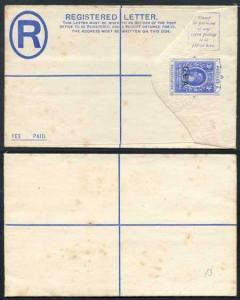 GEA Overprint on East Africa and Uganda KGV 31c Blue Registered Letter Mint