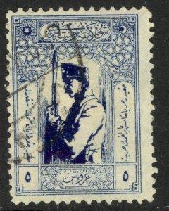 TURKEY IN ASIA 1922 5pi SOLDIER Sc 82 VFU