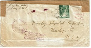 Curacao 1941 Saba cancel on cover to U.S., censored, Official Seal OX21