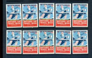 10 VINTAGE NATIONAL AIR TRAVEL WEEK POSTER STAMPS 'A MILLION MILES A  WEEK' L878